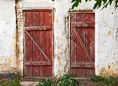 stock photo of shaky  - Old wooden plank vintage door - JPG