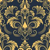stock photo of damask  - Vector damask seamless pattern element - JPG