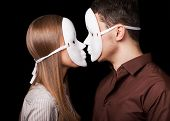 picture of psychological  - Happy Couple in Love wearing mask faces - JPG