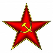 stock photo of communist symbol  - Communist red star with hammer and sickle on white - JPG