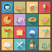 stock photo of flat-bread  - vector set of dish and food icons in flat design style - JPG