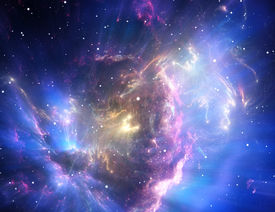 foto of star shape  - Space background filled with colorful nebulae and stars - JPG