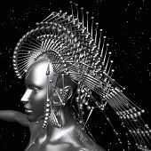 picture of cyborg  - Digital 3D visualization of a female cyborg - JPG