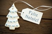 stock photo of natal  - The Blue Portuguese Words Feliz Natale which means Merry Christmas on a white Label with a Christmas Tree Cookie - JPG