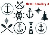 stock photo of wind wheel  - Set of naval heraldry icons with assorted marine anchors crossed oars ship wheel compass lighthouse and bell - JPG