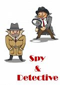 foto of private investigator  - Spy and detective cartoon characters with a stereotypical unshaven spy hunched down in a great coat and an eager beaver smiling detective carrying a large magnifying glass - JPG