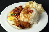 stock photo of nasi  - Indonesian mixed rice or nasi campur - JPG