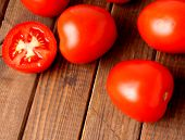 stock photo of plum tomato  - Plum tomatoes healthy red vegetable ready to use - JPG