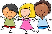 foto of multicultural  - Cartoon Illustration of Cute Happy Multicultural Children Boys and Girl Characters - JPG