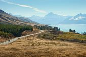 picture of long winding road  - Scenic Road to Mount Cook National Park - JPG