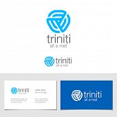 stock photo of trinity  - Logo corporate business abstract triple looped infinite shape vector design - JPG