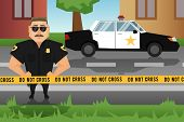 foto of crime scene  - Policeman on crime scene with patrol car on background vector illustration - JPG