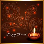 stock photo of diya  - Vector artistic background of diwali diya - JPG