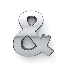 picture of ampersand  - 3d render of metalic ampersand letter simbol  - JPG
