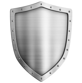 stock photo of shield  - golden metal shield isolated on white - JPG