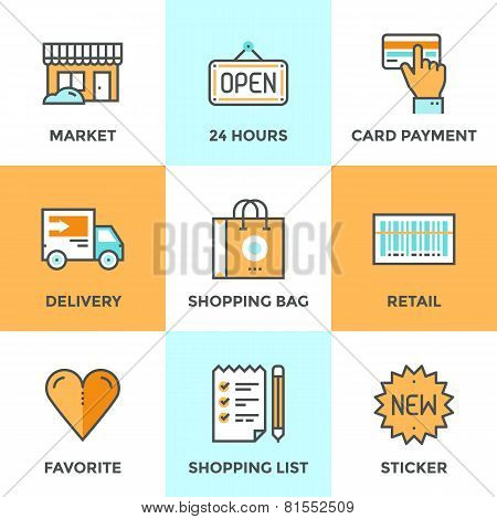 Постер, плакат: Shopping Services Line Icons Set, холст на подрамнике