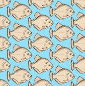 image of piranha  - Sketch dangeous piranha in vintage style vector seamless pattern - JPG