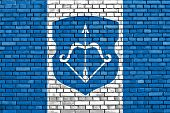 stock photo of brest  - flag of Brest painted on brick wall - JPG
