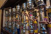 picture of shisha  - Shisha pipes hookah on the streets of the Old Town in Dubai - JPG
