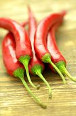 stock photo of red hot chilli peppers  - red hot chilli peppers on a table  - JPG