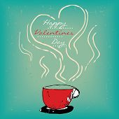 stock photo of steamy  - Valentines day card with steamy red cup of coffee or tea on vintage grungy background - JPG
