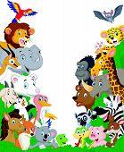 image of platypus  - Vector illustration of Cartoon wild animals background - JPG