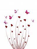 foto of butterfly-bush  - Abstract butterflies on a bush hearts - JPG