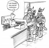 picture of adversity humor  - Cartoon of retail clerk confidently thinking that he can handle any customer - JPG