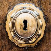 stock photo of keyholes  - Ancient Italian door  - JPG