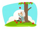 image of revelation  - Cute Isaac Newton is sitting under an apple tree and getting idea about the universal law of gravitation - JPG