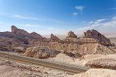 stock photo of jabal  - Jebel Hafeet mountains in the outskirts of Al Ain Emirate of Abu Dhabi UAE - JPG