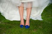 Bride With Blue High Heel Shoes