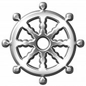 pic of shakti  - 3d silver Buddhism symbol Wheel of Dharma isolated in white - JPG