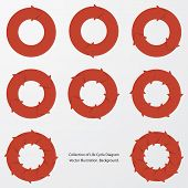picture of flow  - collection of red color arrow circle flows - JPG