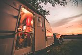 stock photo of trailer park  - Travel Trailer Camping - JPG