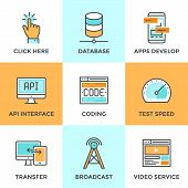 foto of fi  - Line icons set with flat design of app develop with API interface website coding and testing big data and database networking mobile transfer technology - JPG