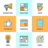 picture of promoter  - Line icons set with flat design elements of digital marketing promotion and effective web media solution success idea development for internet campaign - JPG