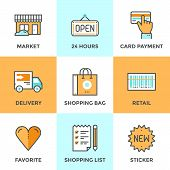 Постер, плакат: Shopping Services Line Icons Set