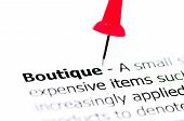 stock photo of boutique  - Word Boutique pinned on white paper with red pushpin copy space available Business Concept - JPG