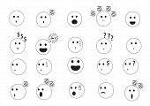 picture of emotions faces  - linear faces emoji vector illustration with different emotion faces - JPG