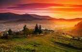 picture of asheville  - Sunrise in the mountain town of autumn morning in mountains Carpathians - JPG