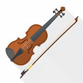 pic of violin  - color flat style vector violin fiddle bow on white background - JPG