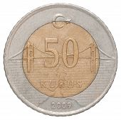 pic of turkish lira  - 50 Turkish kurus coin closeup isolated on white background - JPG