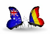 stock photo of chad  - Two butterflies with flags on wings as symbol of relations Australia and Chad Romania - JPG
