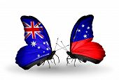 foto of samoa  - Two butterflies with flags on wings as symbol of relations Australia and Samoa - JPG