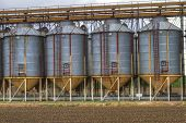 picture of silo  - A row of grain silos surrounded by fields - JPG