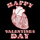 pic of sarcasm  - Sarcastic Valentine card with anatomic heart on black background - JPG