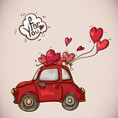 stock photo of valentine card  - Doodle Greeting Card Valentines Day with a Red Car and Balloons Hearts - JPG