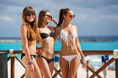 Постер, плакат: Beautiful girls in bikini relax poolside at the ocean background