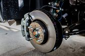 picture of calipers  - Front disc brake on car in process of new tire replacement - JPG